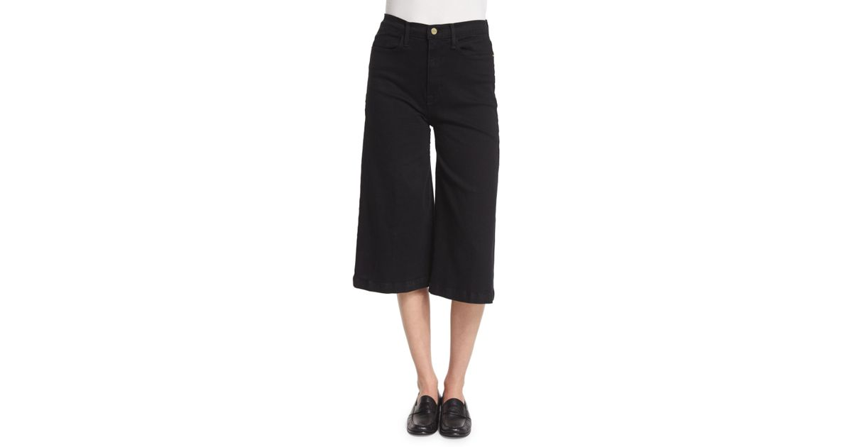 Frame Le Gaucho Cropped Jeans in Black | Lyst