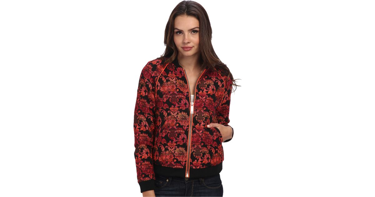 d2e6b2d9aac80f Lyst - Ted Baker Rakka Boucle Bomber Jacket in Red