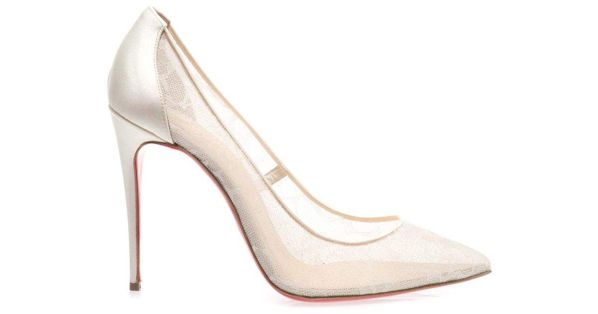 ae0464b9371 Lyst - Christian Louboutin Pigalle 100Mm Lace Pumps in White