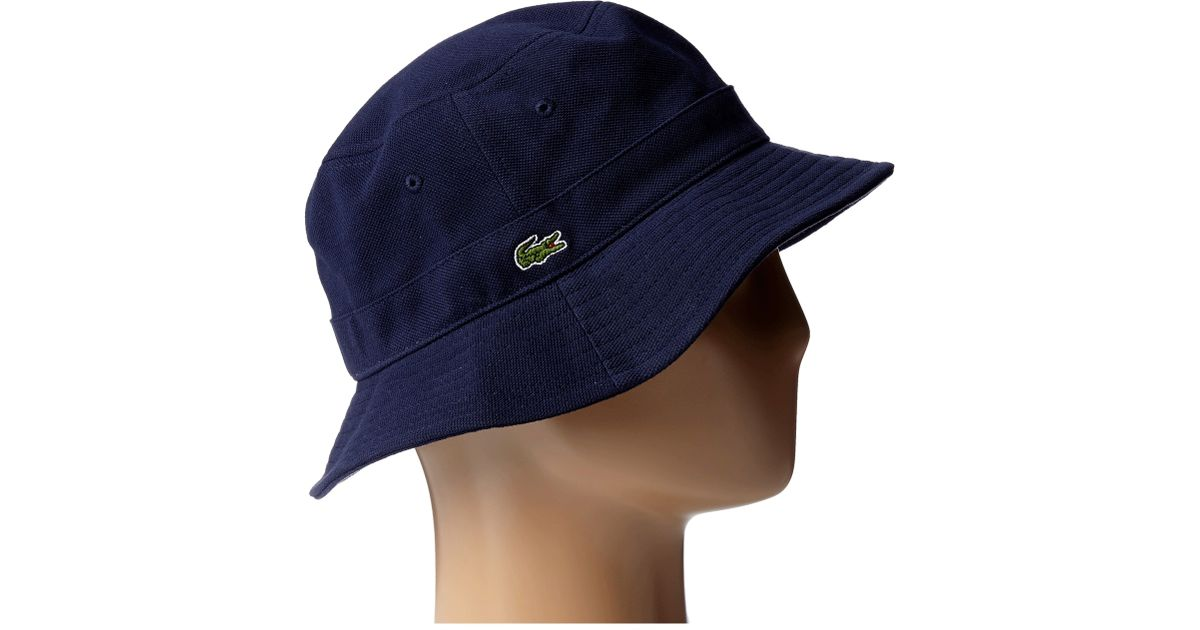 Lyst - Lacoste Bucket Cap in Blue for Men 2bc8f2d8970