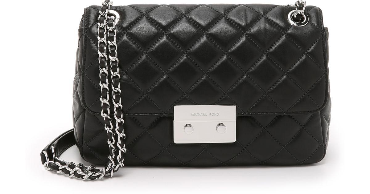 72a23975d316 MICHAEL Michael Kors Sloan Large Chain Shoulder Bag - Black in Black - Lyst
