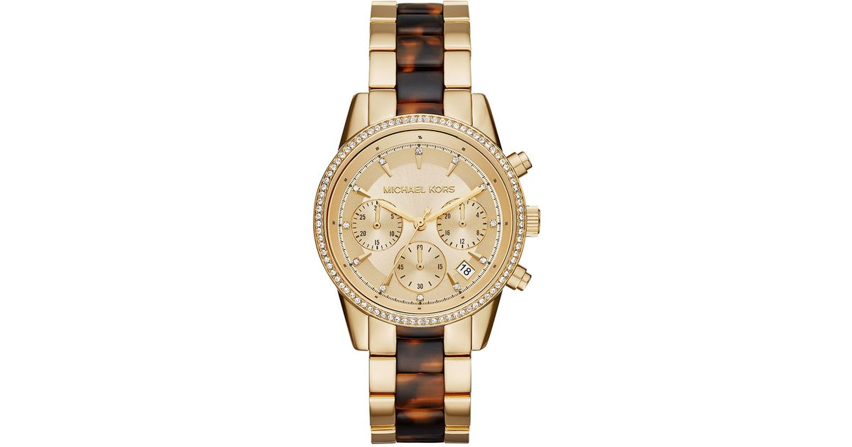 81102db8f3e12 Lyst - Michael Kors Ritz Tortoiseshell And Pave Watch