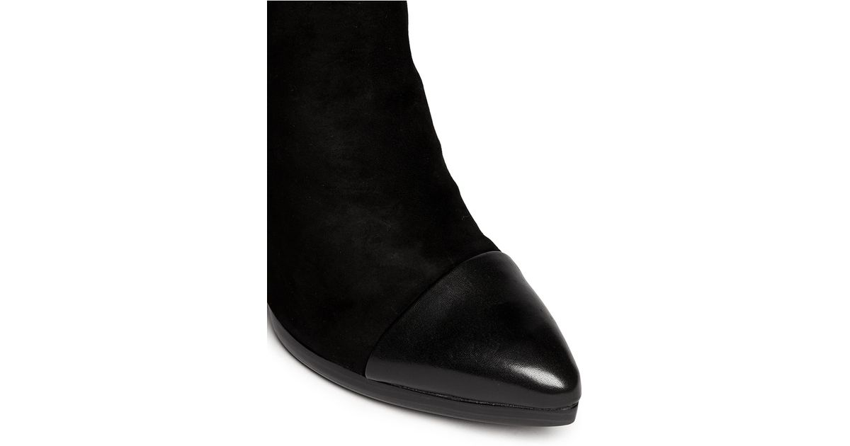 f956b01dd090 Lyst - Tory Burch  rivington  Leather Toe Cap Suede Booties in Black