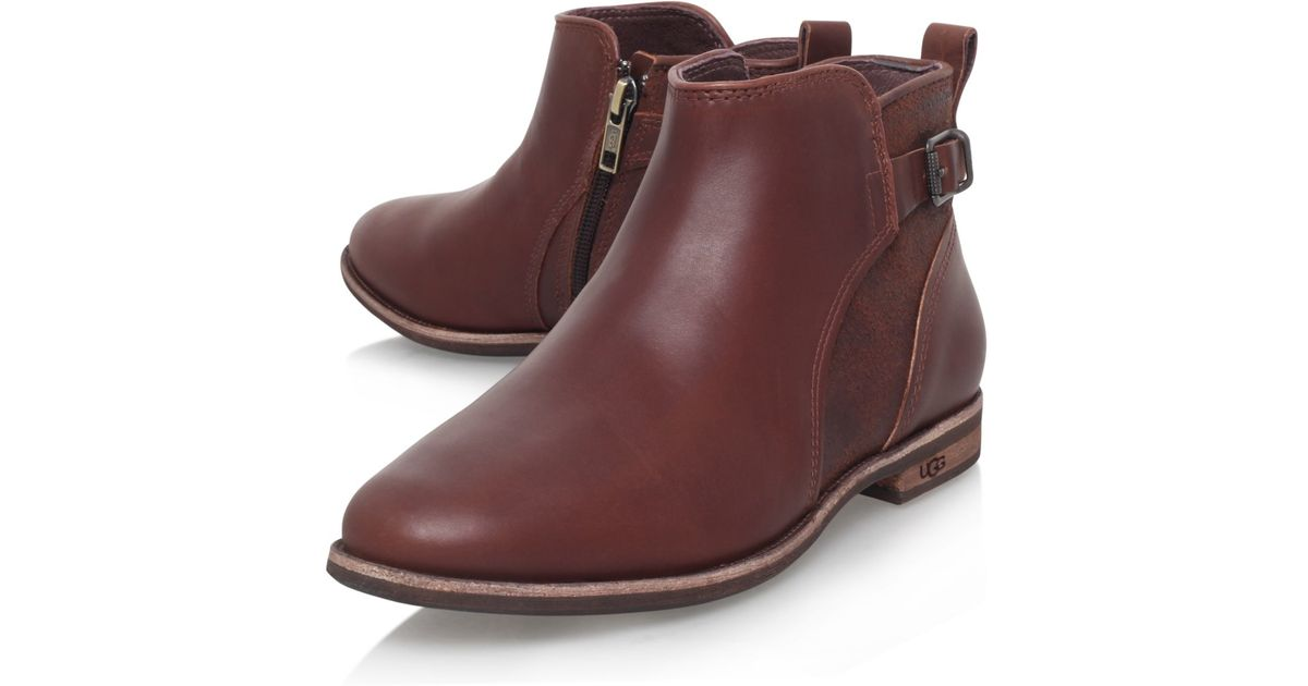 ugg demi flat ankle boots in brown lyst