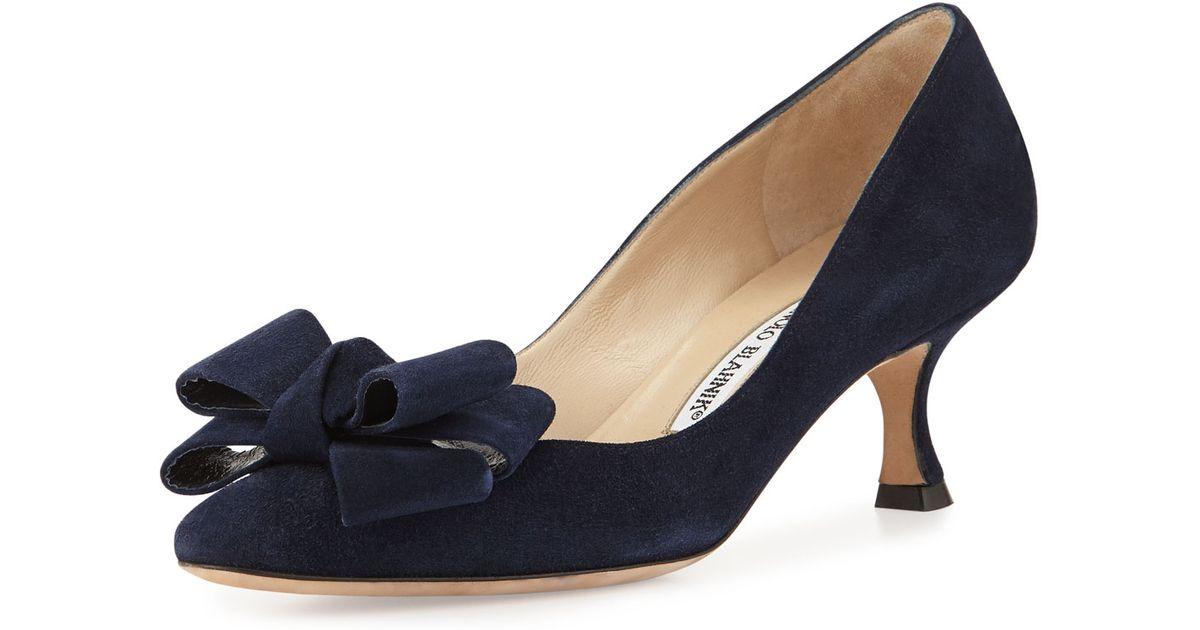 95375f4c6e9 Lyst - Manolo Blahnik Lisane Suede Bow Kitten Heel Pump in Blue