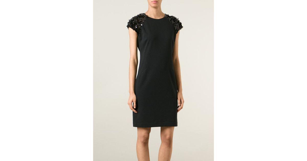 1c3427c12bf MICHAEL Michael Kors Sequin Sleeves Dress in Black - Lyst