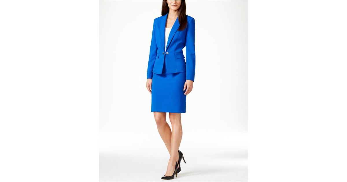 tahari buttoned skirt suit in blue lyst