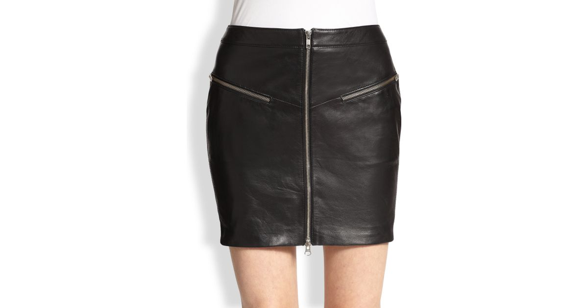 The kooples Zip-Front Leather Skirt in Black | Lyst