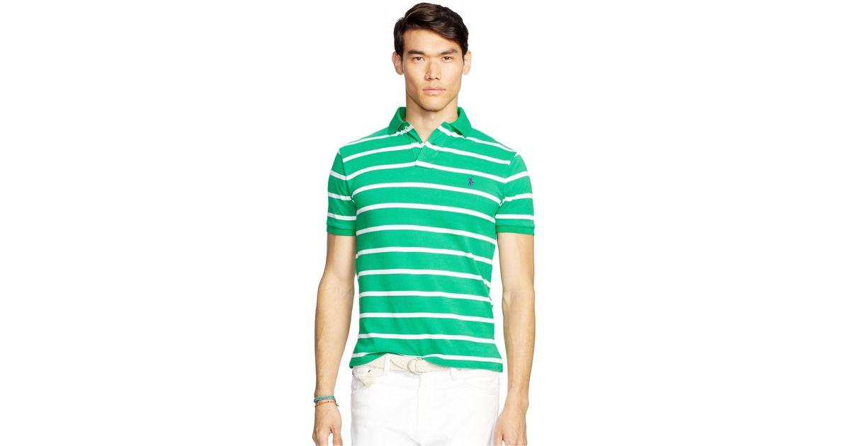 80467b5c Polo ralph lauren Men\u0027s Classic-fit Striped Mesh Polo Shirt in Green  for