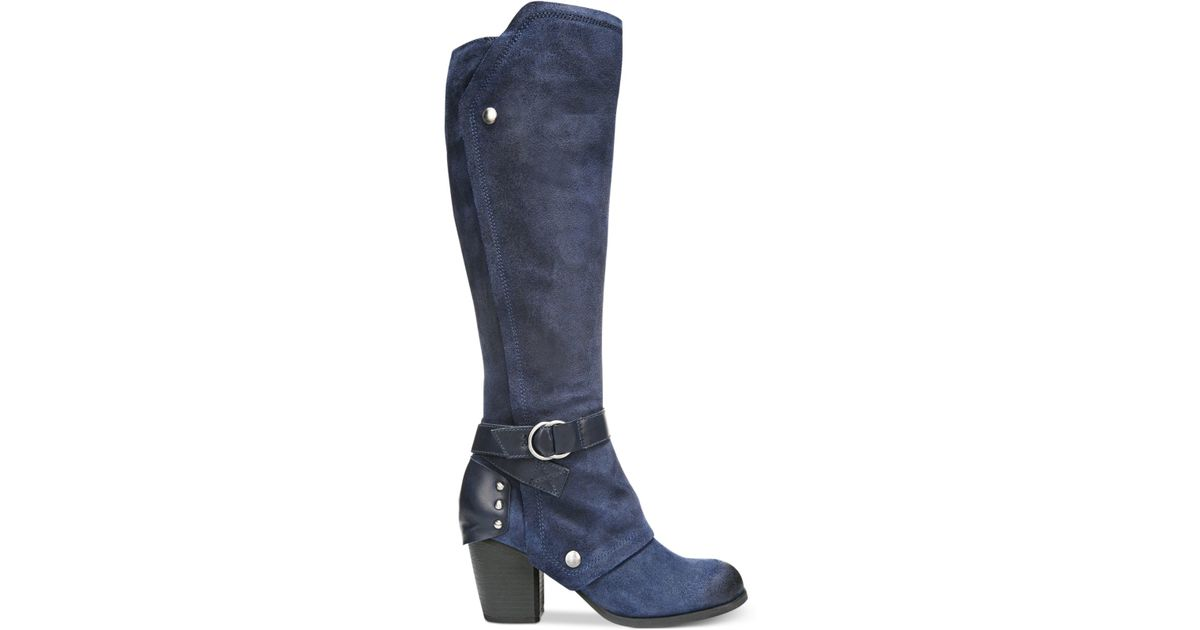 fergie total cuffed knee high boots in blue lyst