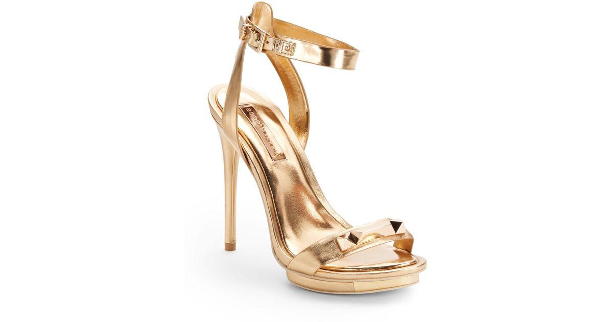 9c21eecab Lyst - BCBGMAXAZRIA Freesia Metallic Leather High Heel Sandals in Metallic