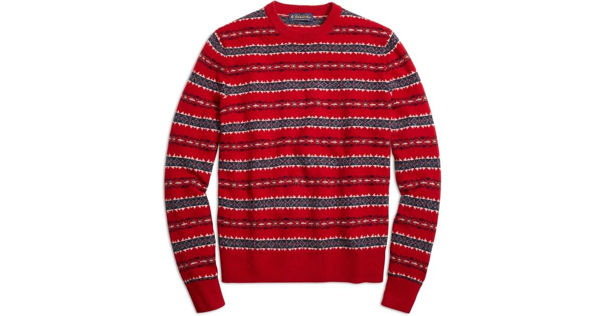 Brooks brothers Merino Wool Fair Isle Crewneck Sweater in Red for ...