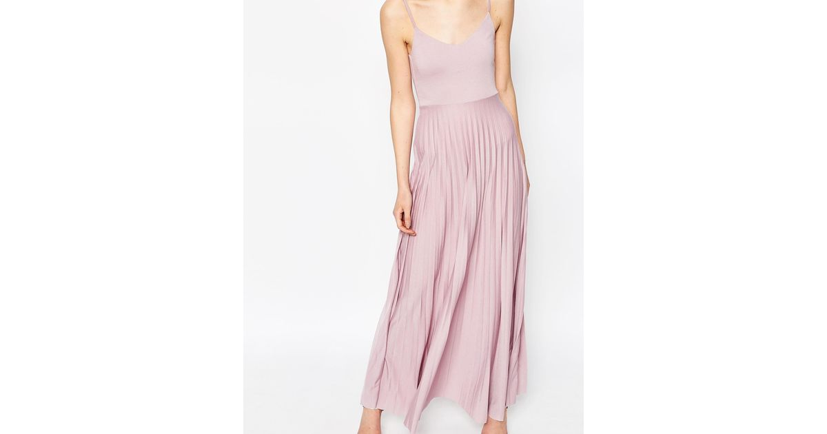 asos cami maxi dress with pleated skirt in pink lyst