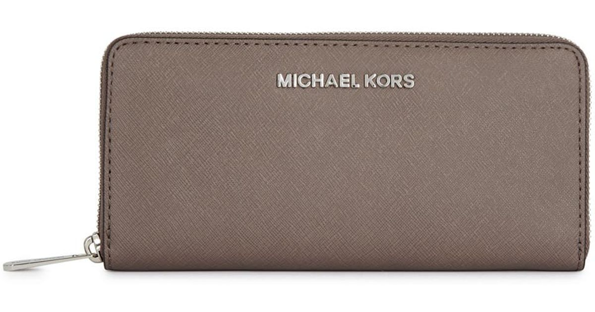 2609182df6b9fb Michael Kors Jet Set Mushroom Saffiano Leather Wallet in Gray - Lyst