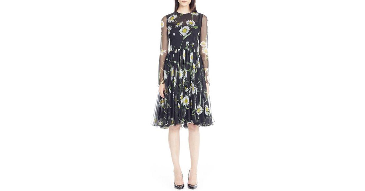 0ad48a32 Dolce & Gabbana Daisy Print Silk Chiffon Dress in Black - Lyst
