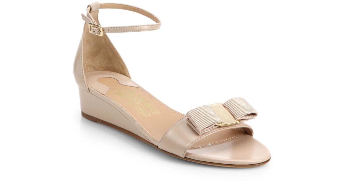 ferragamo margot bow leather wedge sandals in lyst