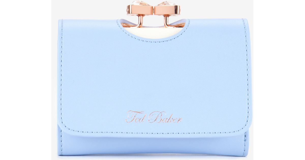 7e88106f0 Ted Baker Jewelled Bow Leather Purse in Blue - Lyst