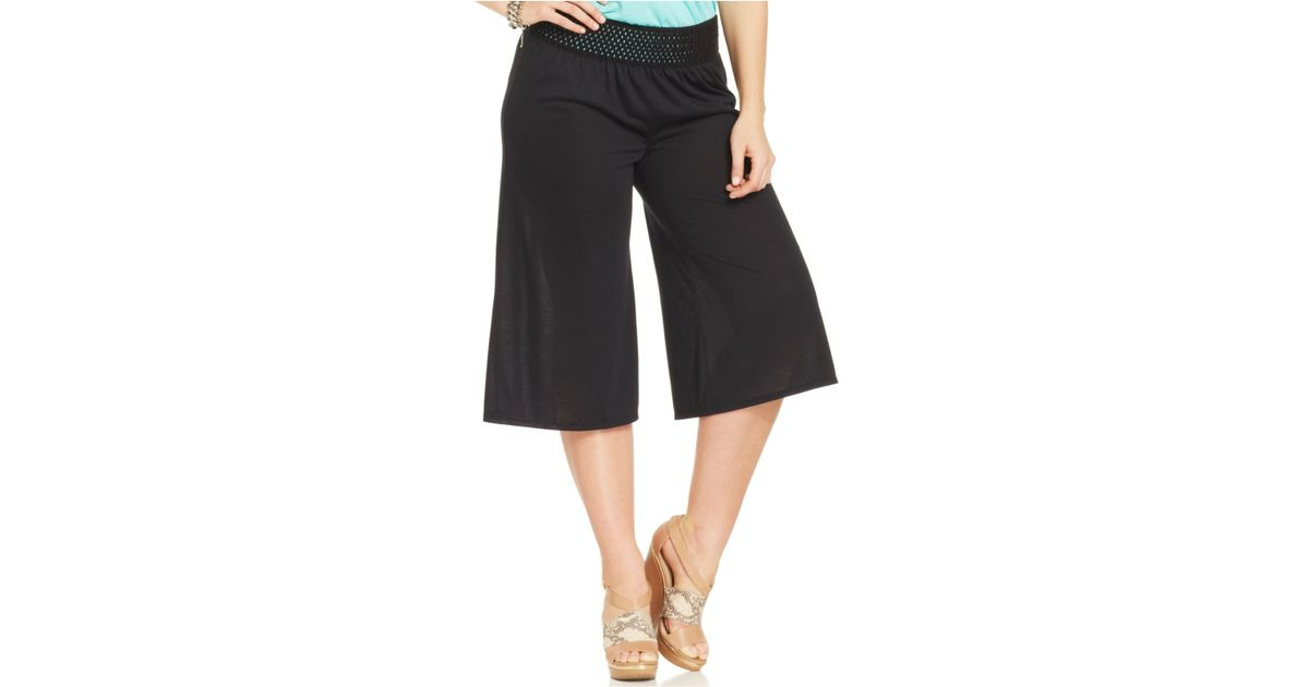 2cb7af56e56 Lyst - Jessica Simpson Plus Size Myra Gaucho Pants in Black