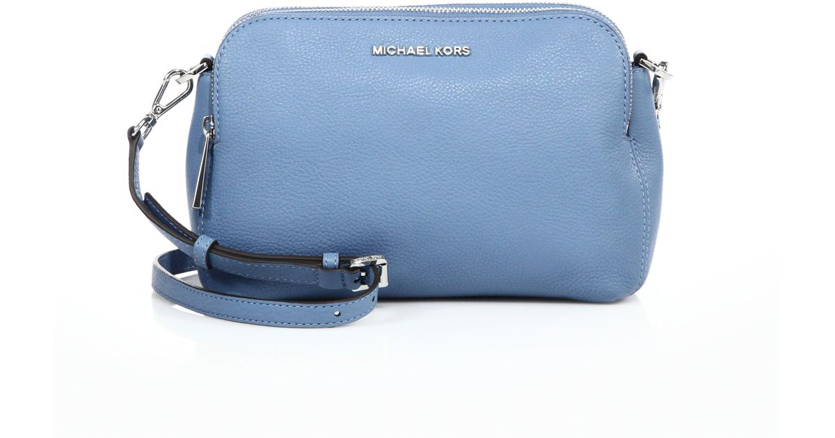 b793f61ccb8f ... new zealand lyst michael michael kors bedford medium double zip leather  messenger bag in blue c550b