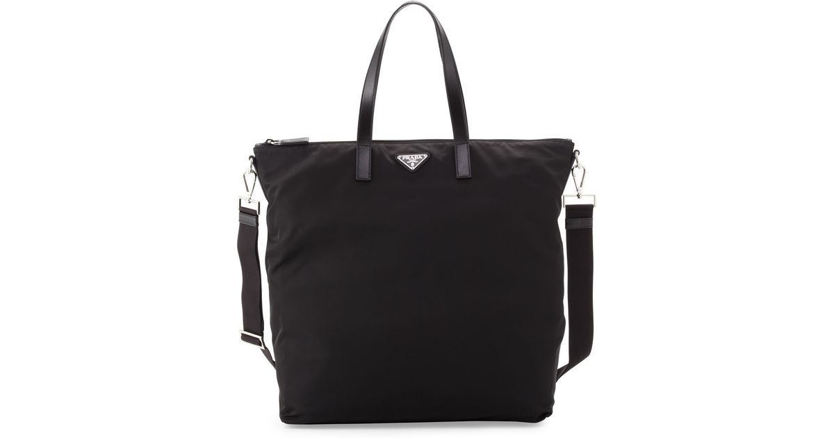 988eb9a6530f ... czech lyst prada mens gabardine nylon midsize tote bag in black for men  b5729 c11c1