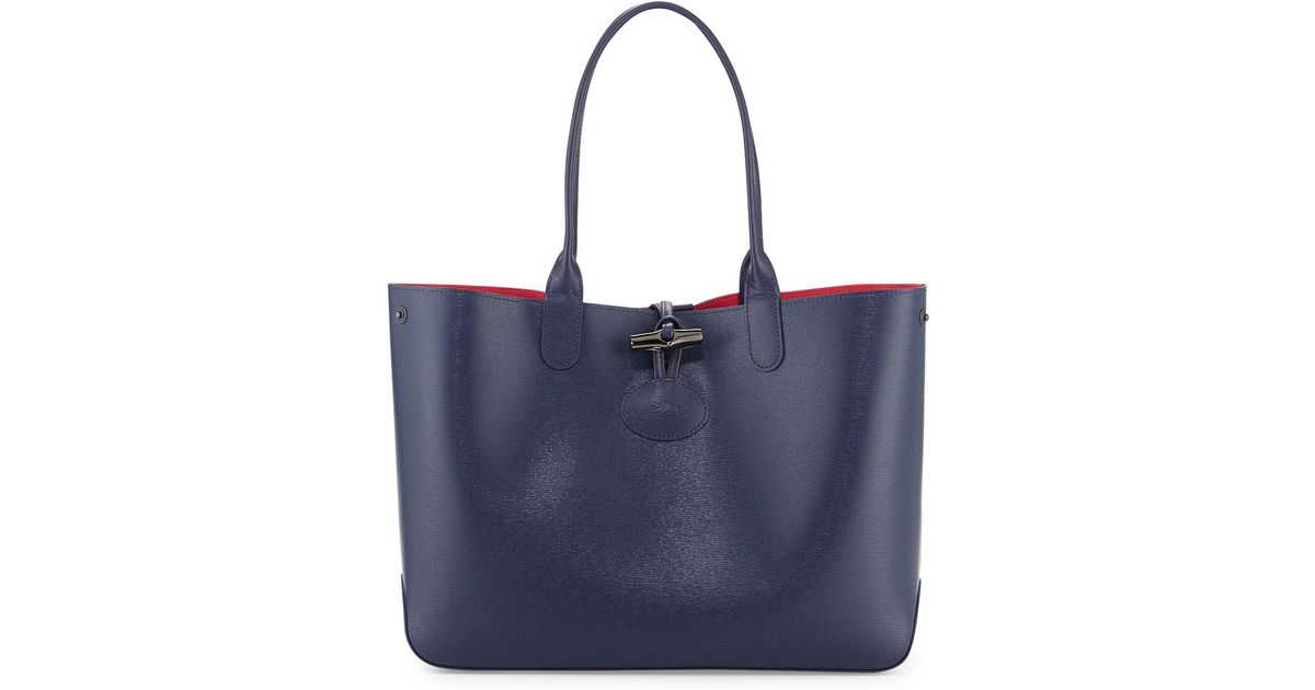 4b8cc65f67 Longchamp Roseau Reversible Leather Tote Bag in Black - Lyst