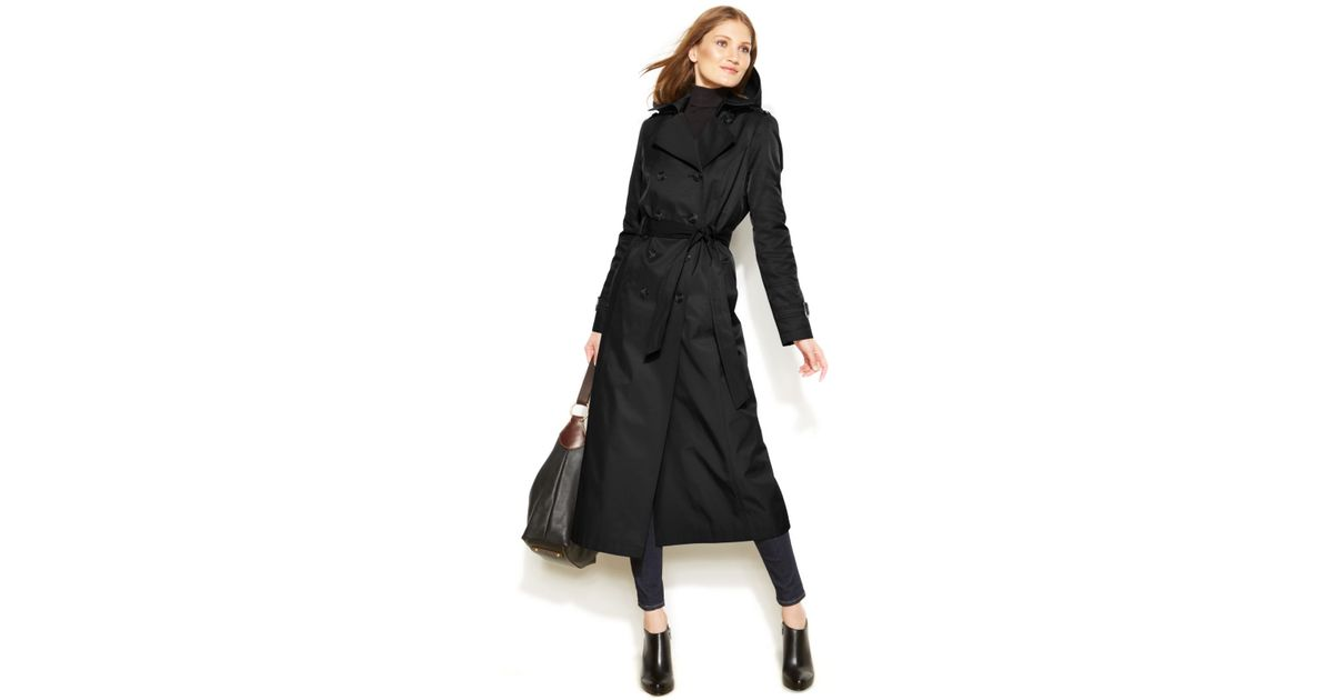 suitable for men/women diversified latest designs 2018 sneakers DKNY Black Petite Hooded Double-Breasted Maxi Trench Coat