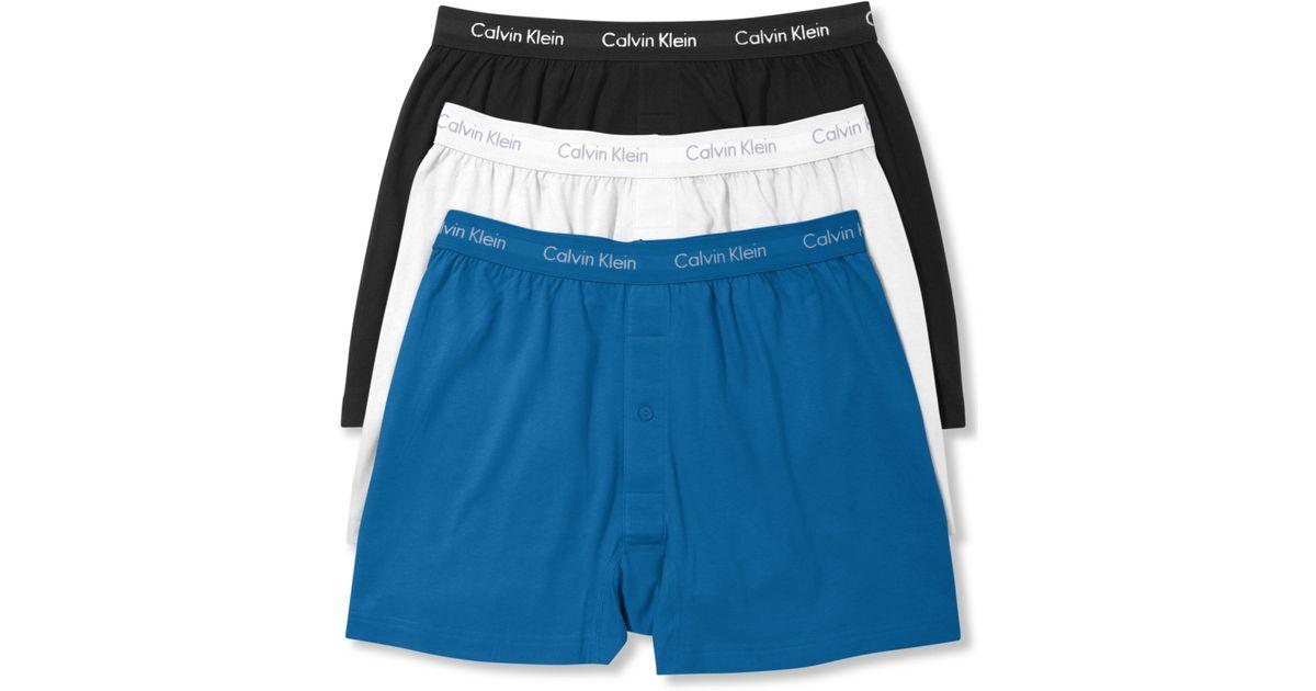 620de0b4c1d7 Calvin Klein Celebrity Basic Knit Boxer 3 Pack in Blue for Men - Lyst
