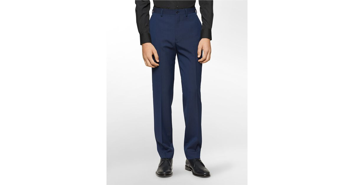 Calvin klein x fit ultra slim fit navy suit pants in blue for Calvin klein x fit dress shirt