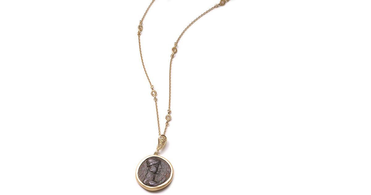 Lyst coomi antiquity 20k simple coin pendant necklace with lyst coomi antiquity 20k simple coin pendant necklace with diamonds in metallic aloadofball Images