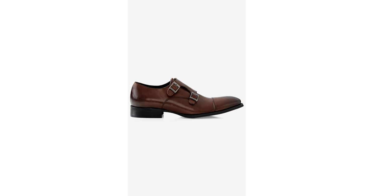 express leather monk dress shoe in brown for lyst