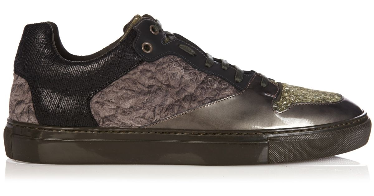 balenciaga multi panel low top trainers in khaki for men lyst. Black Bedroom Furniture Sets. Home Design Ideas