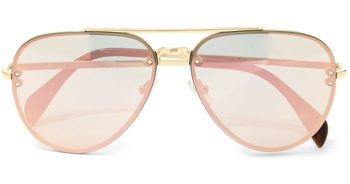 e8a8b7e896 Céline Gold Metal Aviator Sunglasses in Metallic - Lyst