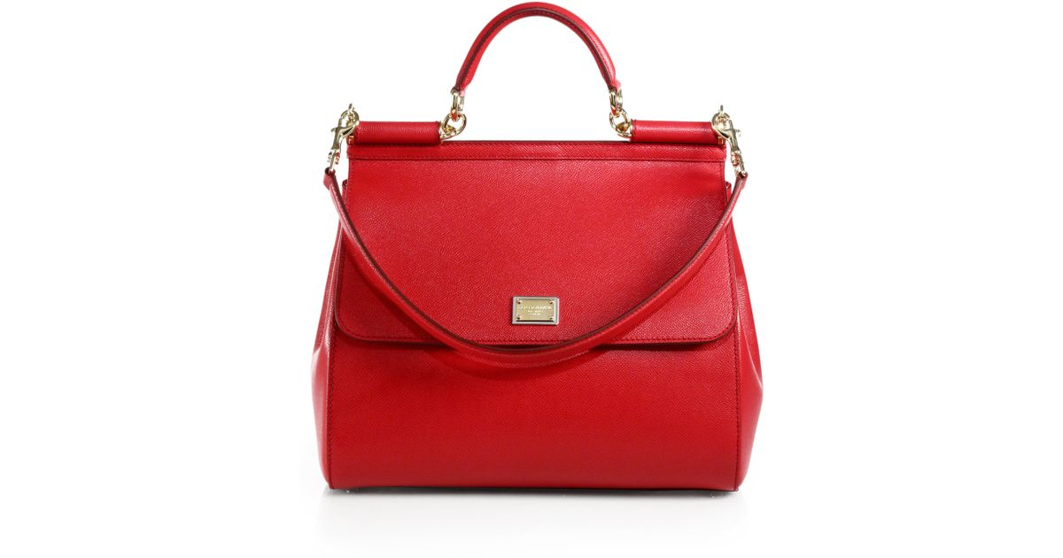35bfbbbae95 Lyst - Dolce   Gabbana Large Sicily Leather Top Handle Satchel in Red