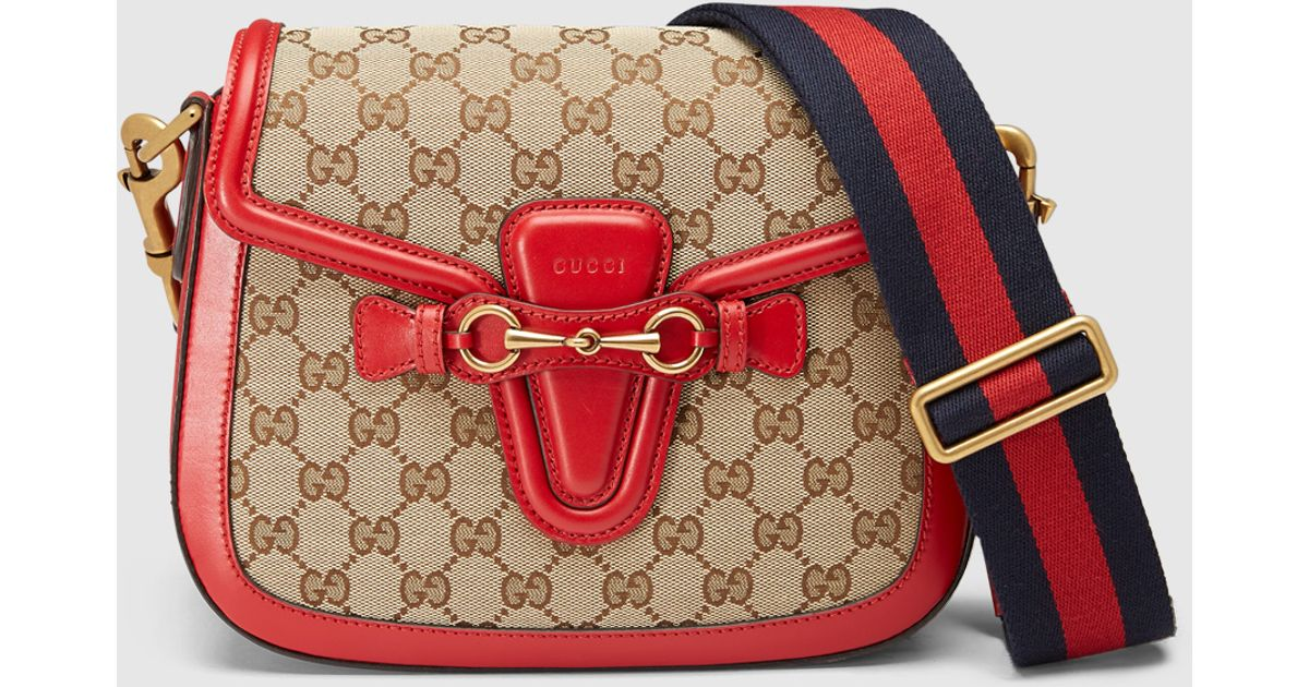 Gucci Lady Web Gg Canvas Shoulder Bag in Red | Lyst