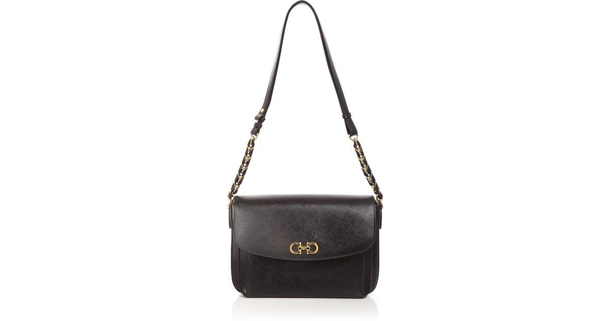 00e212ff2b31 Lyst - Ferragamo Large Sandrine Shoulder Bag in Black