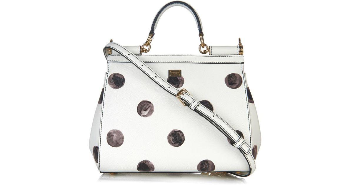 f38827529429 Lyst - Dolce   Gabbana Sicily Mini Polka-Dot Leather Bag in Black