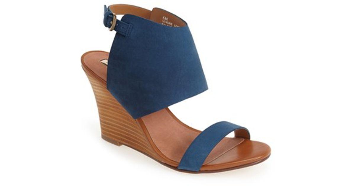 9eb8d29db6b Lyst - Halogen  clarette  Suede Wedge Sandal in Blue