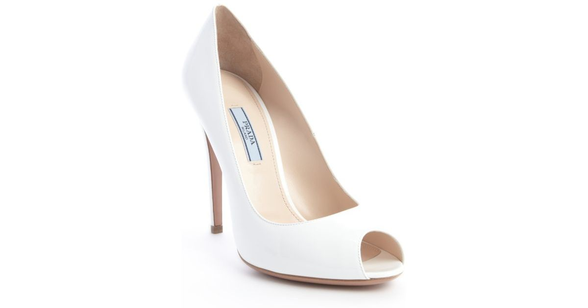 Lyst Prada White Patent Leather Peep Toe Pumps In White