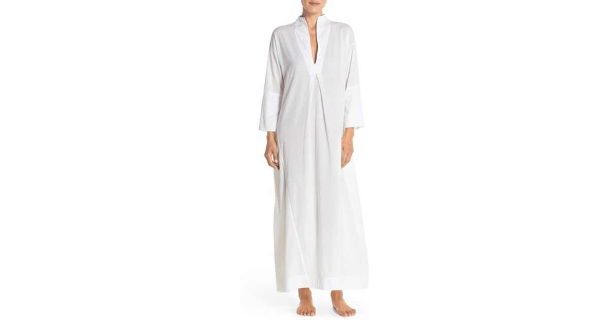 d21f5a28eb Lyst - Skin Voile Jersey Caftan Nightgown in White