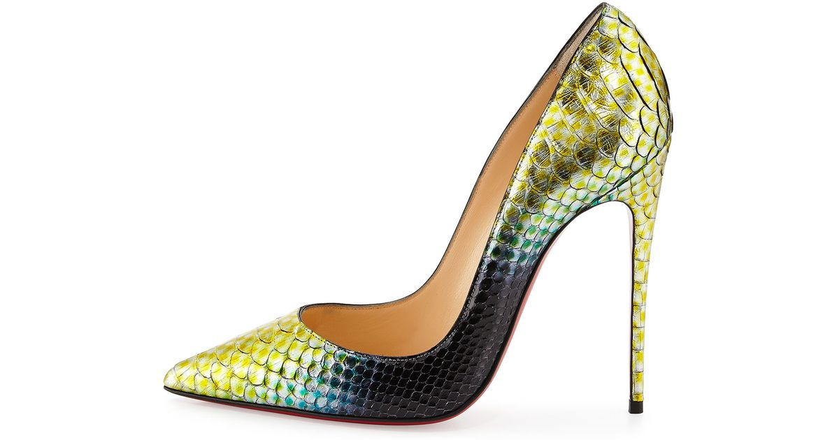d0471a9b5af6 Lyst - Christian Louboutin So Kate Python Mermaid Pumps in Yellow