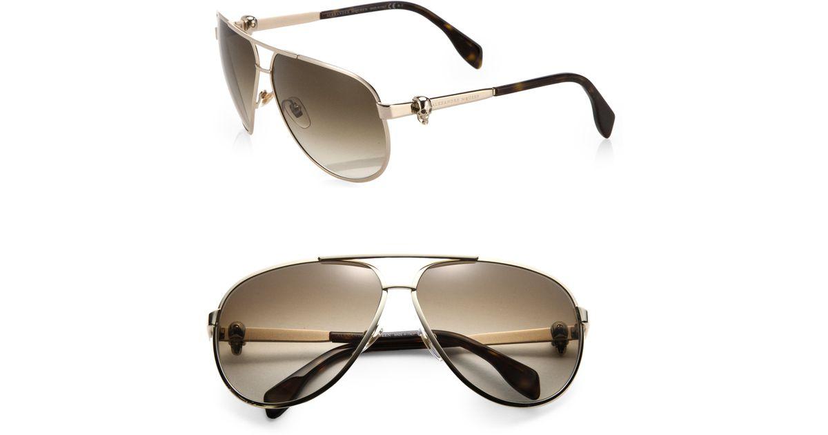 ccbede931f95 Lyst - Alexander McQueen Aviator Sunglasses in Brown for Men