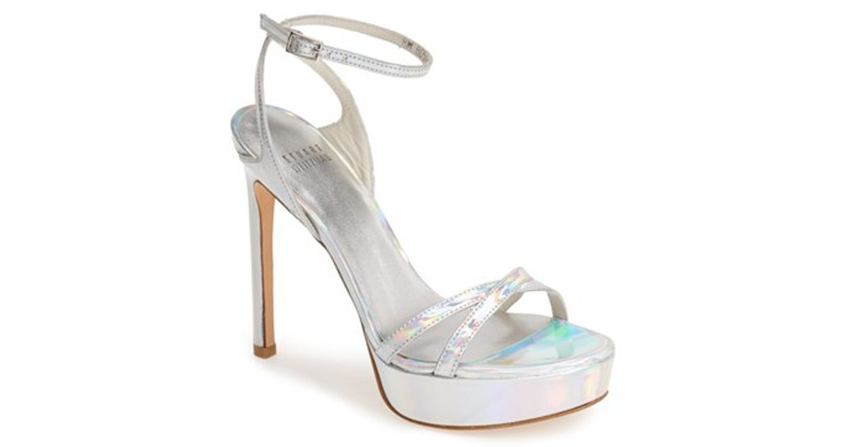 Lyst - Stuart Weitzman Bebare Iridescent Metallic Leather Platform Sandals  in Metallic