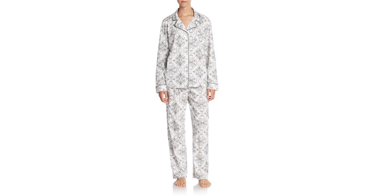 470a6ddc6f ... meet 28bdd 4b0bb Cottonista Notched Collar Pima Cotton Pajama Set in  Gray - L ...