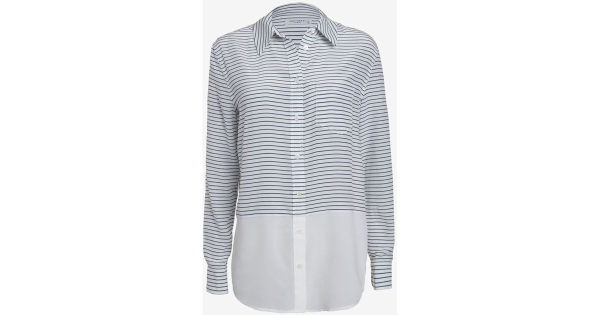 69a47a4349 Equipment Reese Neat Stripe Blouse in Blue - Lyst