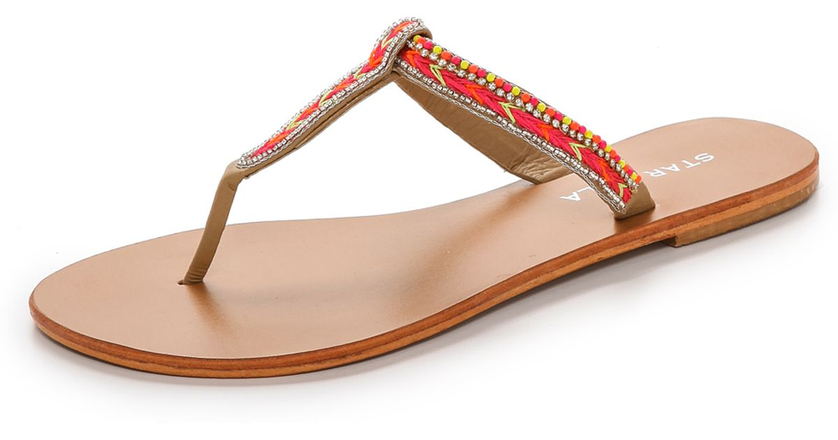 df7268219082 Star Mela Tabby Beaded Thong Sandals - Pink in Pink - Lyst