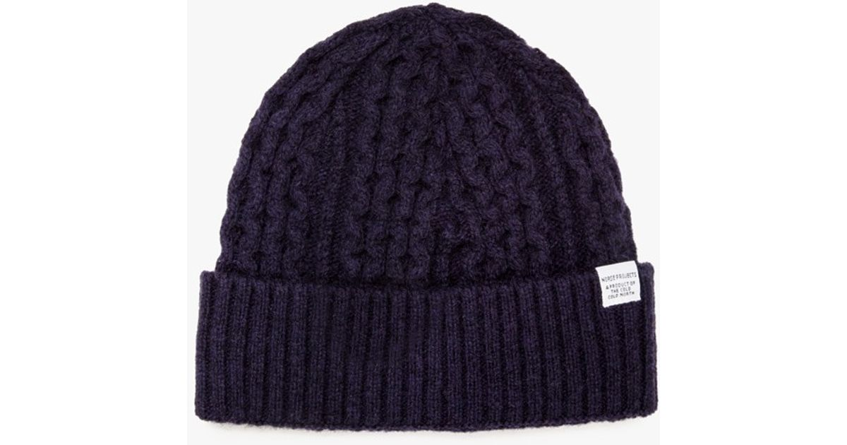 603eb2d1c39 Lyst - Norse Projects Cable Knit Beanie in Blue for Men