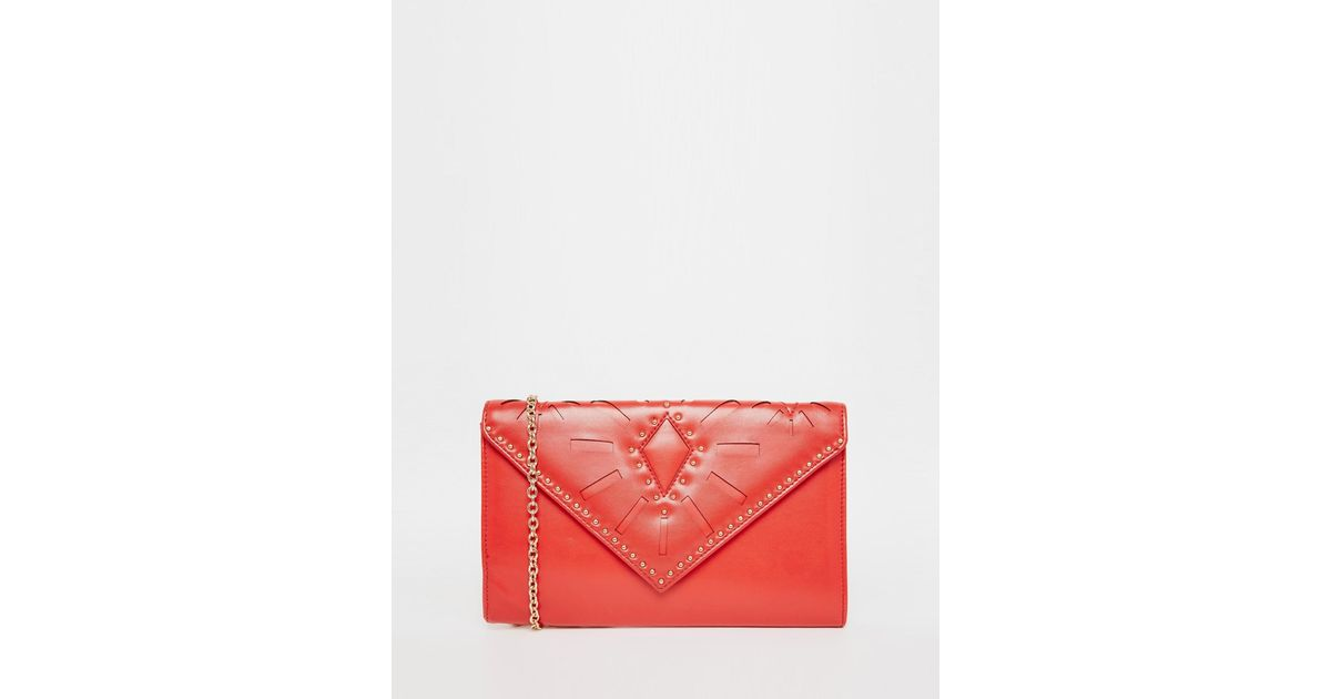 d60971e70f4 Lyst - ALDO Envelope Clutch Bag With Laser Cut And Stud Detail in Red