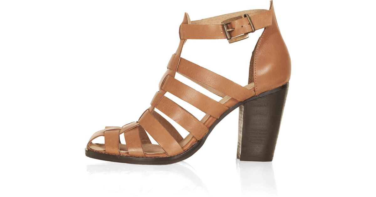 Topshop Gerrie Block Heel Gladiator Sandals in Brown | Lyst