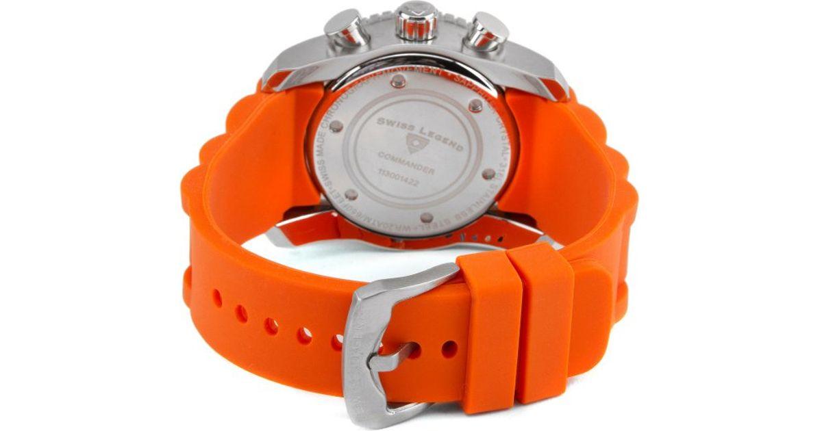 4f0ce95cf Lyst - Swiss legend Commander Chronograph Orange Silicone Black Dial in  Orange for Men