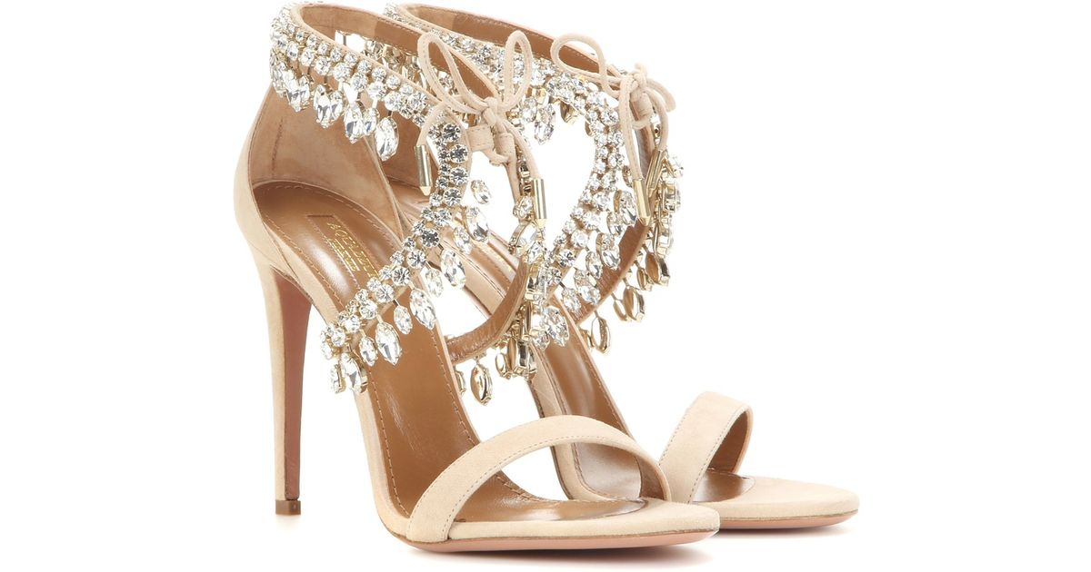 75a0d5227 Aquazzura Milla Jewel 105 Embellished Suede Sandals in Natural - Lyst